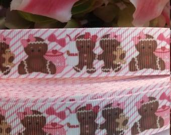 3 yards, 7/8' grosgrain ribbon gingerbread girl design