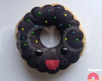 sprinkled chocolate frosted donut, large felt plush