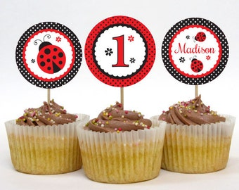 Ladybug Party Cupcake Toppers – 2 Inch Circles – Personalized Printable – Classic Red and Black (Digital File)
