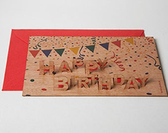 """3 pop up cards wood with envelope - """"Happy Birthday"""" cards"""