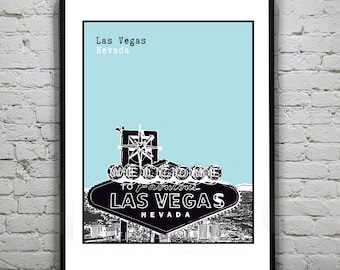 Las Vegas Sin City Art Print Poster  Original Nevada Version 4