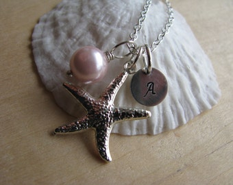 Pale Pink Bridesmaid Jewelry Personalized Hand Stamped Starfish Necklace Light Pink Pearl Jewelry Bridesmaid Necklace Starfish Monogram