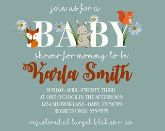 Woodland Gender Neutral Baby Shower Invitation Digital Download