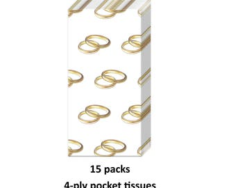 gold wedding ring tissues, 15 packs, favors, facial tissues, rings, bridal shower, engagement, pocket, purse, gold and white supplies,