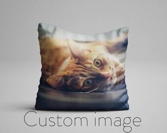 Custom Photo Pillow for Cat Lovers, Custom Pet Photo Pillow, Cat Lover Customized Picture Pillow, Photo On A Pillow, Customizable Pillows