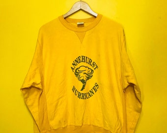 """Free Shipping! Vintage 90's Annehurst Hurricanes Yellow Pullover Medium Size 22"""" x 26"""" Chase,USA"""