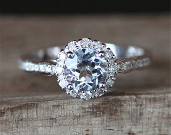 Payment Plan For juliemecham11 Art Deco Floral Halo Aquamarine Engagement Ring VS 5.5mm Round Cut Aquamarine Ring  14K White Gold Ring