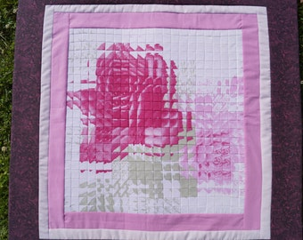 Handmade patchwork decoration - Reflection-vibration patchwork quilt  - Holiday & Birthday Gifts - Rose decoration - Rose pillow