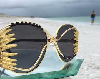 Last Pair, FESTiVAL Gold FEATHER Sunglasses Women, Wire Wrap Sunglasses, Burning Man, EDM, EDC, Sunnies, Sunglasses, Eyewear, Free Shipping
