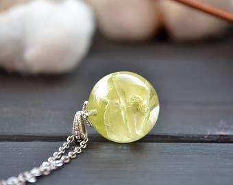 Terrarium Miniature Inspirational gift  Green hydrangea necklace Flower jewelry Terrarium jewelry Flower necklace Fantasy necklace