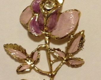 Lovely Vintage Rose Enamel brooch