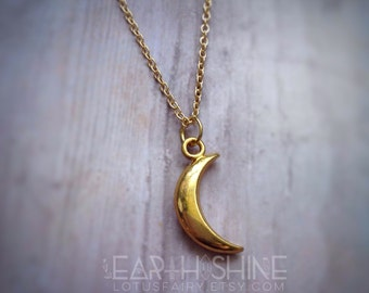 Gold Moon necklace, crescent moon