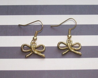 NAUTICAL KNOTS - Matte Gold Rope Bow Earrings - Nautical Jewelry