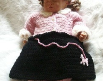 I Love You Peggie Sue Poodle Skirt Cocoon and Hat Set Crochet Pattern PDF 415