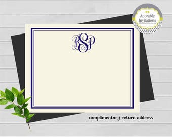 Flat Note Card, Monogram Note Card, Personalized Note Card, Personalized Stationery, Monogram Stationery, Classic Stationery