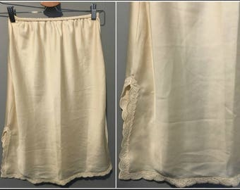 """Vintage French Maid Beige Half Slip with Lacy Trim - 25"""" Long - Size Small"""