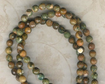 6mm Faceted Rhyolite Stone, 8 inch Strand, 6mm Brown Stone, 6mm Faceted Stone, Moss Green, Julie's Bead Store, Faceted Ryolite