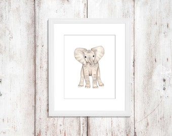 Baby elephant print, elephant print, animal prints, nursery wall decor