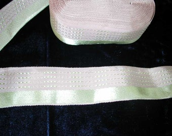"No. 700 Lovely Antique Silk Ribbon in Pale Pink/Chartreuse 1-1/8"" x 5.5 Yards"