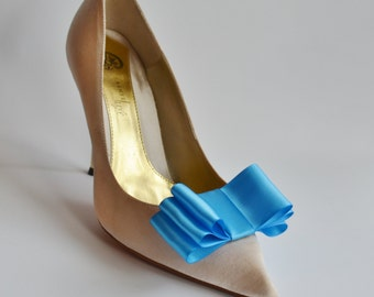 Ocen Blue Satin Ribbon Bow Shoe Clips Set Of Two, More Colors Available