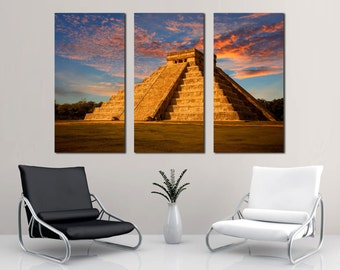 Chichen Itza, Kukulkan Temple -3 Panel Split, Triptych Canvas Print. Wonderful landmark art for home wall decor. El Castillo Yucatan, Mexico