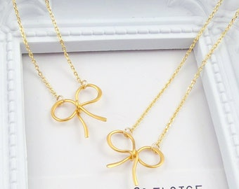 Gold Bow Necklace, Gold Ribbon Charm Necklace, Dainty Gold Bow Necklace, Bridesmaid Gift