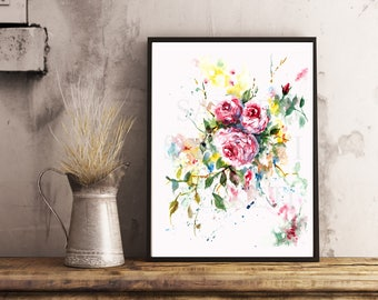 Pink English roses, Watercolor Painting, For Her, Home Decor, Wall Art, Valentine's Day Gift,For The Bride, Bridal Shower, Wedding Gift
