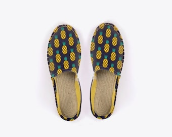 Disco Pineapple Unisex Espadrilles in Midnight Blue