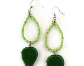 Drop Bead Earrings-Hoop Dangling Earrings-Lime Green Earrings-Java Bead Earrings-Earrings for Her-Statement Earrings