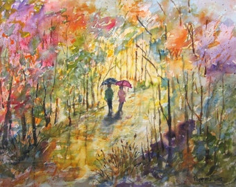 Watercolor Painting Print, autumn painting, autumn walk, watercolor landscape, archival print, scenic nature fall painting, watercolor art.