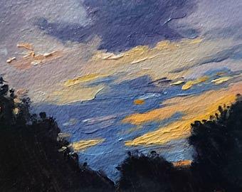 Original Oil Painting of Sunset in Olive Groves, Original Greek Art, Sunset Paintings, Miniature Small Landscape, Postcard Paintings