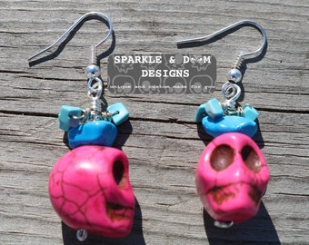 Pink Skulls Turquiose, pair nuggets goth punk rock genuine gemstone handmade