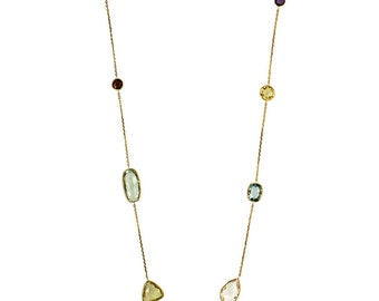 Gemstone Station Necklace 14k Yellow Gold - Gemstone Necklaces for Women - Blue Topaz, Garnet, Green Amethyst, Quartz - Bezel