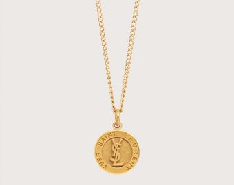 Re-worked Vintage Gold YSL Necklace Unisex Yves Saint Laurent Stripe Button Round Pendant Engraved