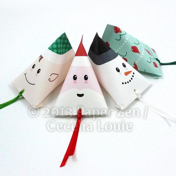 printable christmas party gift favors diy pdf patterns for santa