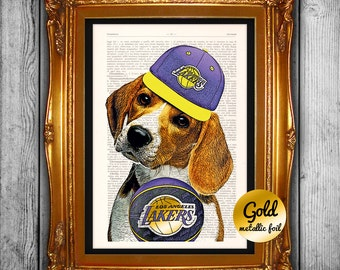 Gift for him,gift for boyfriend,wall decor,wall art,Lakers Dog,wall hanging,vintage dictionary print,home living,vintage poster,-19