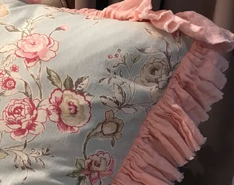 Luxury Linen Clarisse pillow case with frayed ruffle - pure linen pillow case - shabby euro sham duckegg pink color