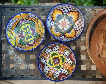 Three Talavera Pottery Bowls, Mexican Pottery, Mexican Decor, Mom Gift for Mother, Bohemian Decor, Blue Yellow Decor, Blue White Kitchen