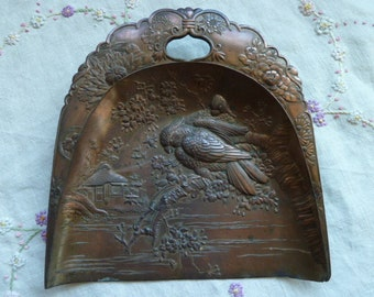 Vintage Butler Crumb Tray Asian Scene Parrots Birds Flowers