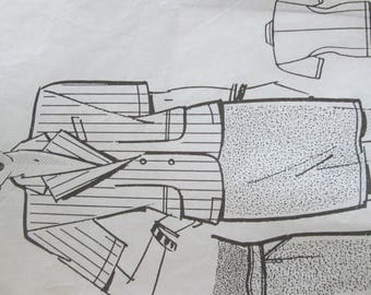 Fashions and needlework pattern for jacket and skirt two boards very well detailed and precise pattern very well designed to be made