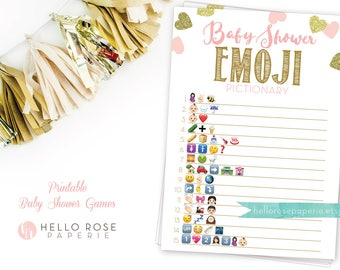 Baby Shower Emoji Pictionary . Pink and Gold Emoji Pictionary Baby Shower Game . Pink Gold Baby Shower Girl . Printable Instant Download