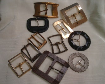 Large Size Old Buckles Vintage Buckles Lot Set 11 Sewing Craft Jewelry Metal Wood Plastic Shown are what you receive Circle Rectangle Retro