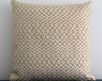 "Sanderson cheslyn linen blend cushion cover in citron and cream zig zag pattern 17"" x 17"" Home furnishings - Throw pillow - UK made"