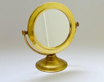 Vintage Brass Porthole Style Pedestal Mirror