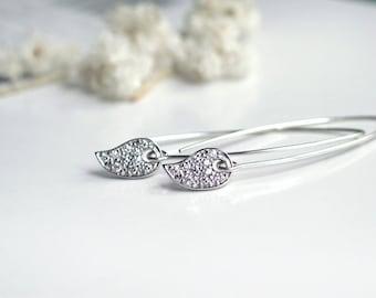 CZ Pavé Paisley Leaf Earrings | Oval Marquise Elongated Earwires | Argentium Sterling Silver | Crystal Earrings | Twinkle Long Earrings