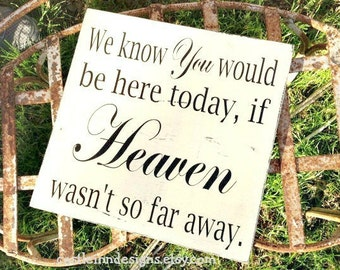 Memory Table Sign | We Know You Would Be Here Today if HEAVEN Wasn't So Far Away | Memory Sign |  Wedding Sign | Photo Table Sign