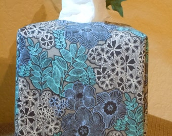 Ready To Ship -   Blue Florals  -  Fabric Tissue Box Cover