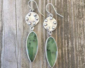 Nephrite and Fine Silver Earrings for Pierced Ears. EC30