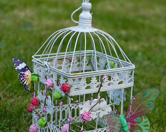 Customized with flowers and butterflies birds birdcage