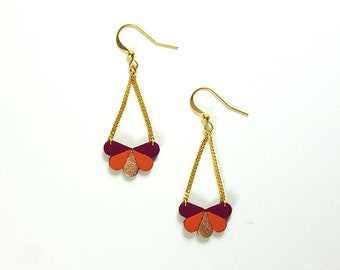 Butterfly earrings in saffron cyclamen and corail color and rose gold